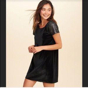 Hollister small black velvet sparkle sleeve dress